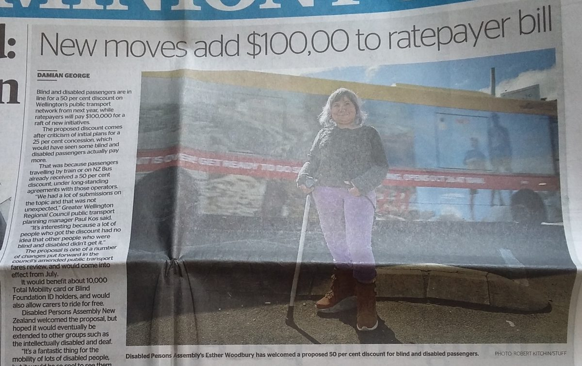"A newspaper article has the headline ""New moves add $100,000 to ratepayer bill"" with a picture of a woman on crutches next to a train."