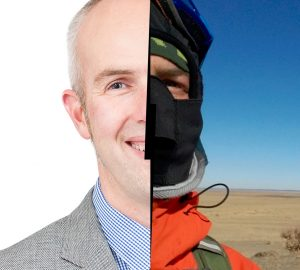Dan Smith wearing a suit (left) and cold weather riding gear (right).